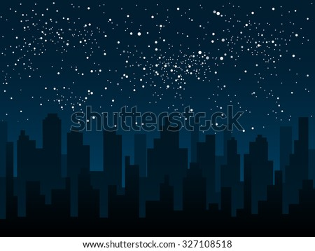 Vector background. Starry night sky. Stars, sky, night. Silhouette of the city. - stock vector