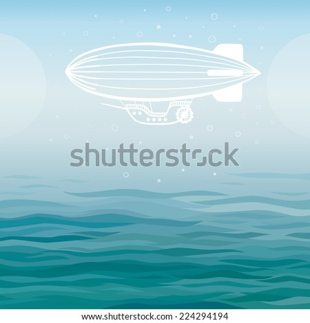 Vector background: stylized airship on a sea background. - stock vector