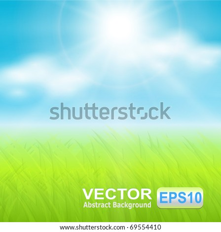 Vector background, sunny spring sky and green meadow. - stock vector