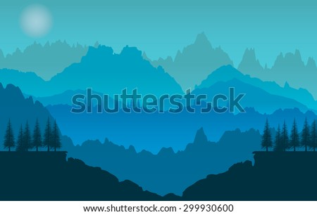Vector  background.  sunset of mountains - stock vector