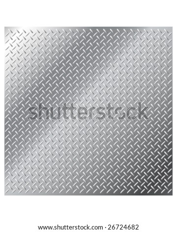 Vector background texture of shiny stainless steel metal with small diamond crosshatch tread pattern - stock vector