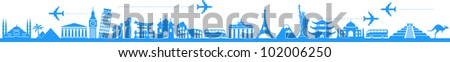 vector background travel, vacation, famous places - stock vector