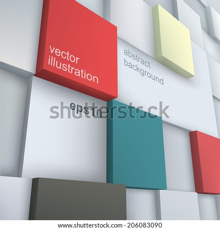 Vector background. Vector Illustration of abstract cubes. Background design for poster, flyer, cover, brochure. - stock vector