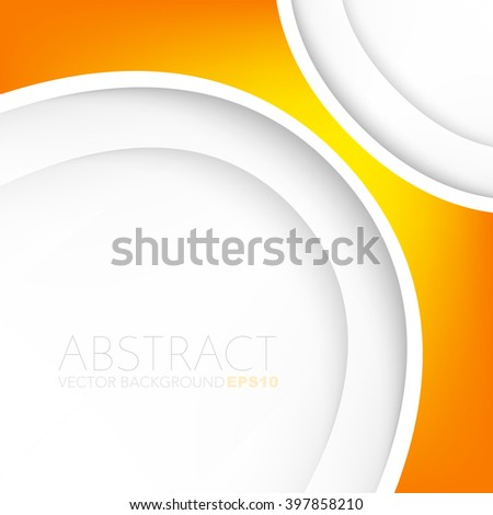 Vector background white curve line paper overlap layer with yellow orange line and space for text and message artwork background design - stock vector