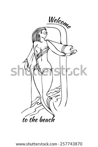Vector background with a beautiful young woman on the beach, welcome to the beach - stock vector