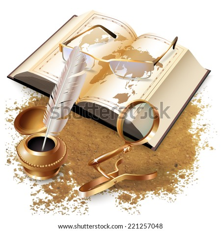 Vector background with a book, glasses, magnifying glass and inkwell with a pen - stock vector
