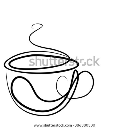 VECTOR Background with a cup of coffee. Tea, drink menu.Bar, cafe, restaurant, breakfast, tea, coffee,