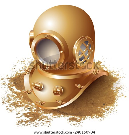 Vector background with a diving helmet - stock vector