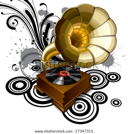 Vector background with a gramophone - stock vector