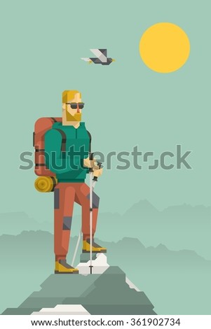 vector background with a hiker on the mountain peak - stock vector