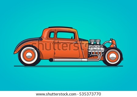 vector background with a hotrod