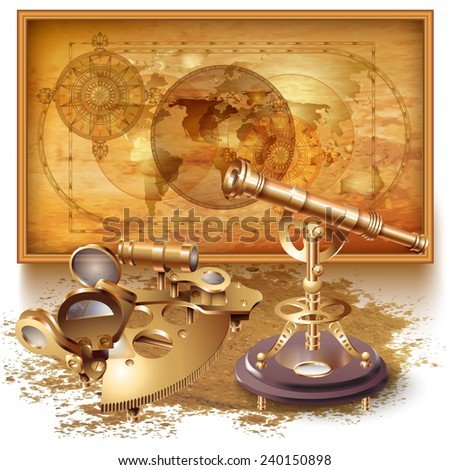 Vector background with a map and navigation tools - stock vector