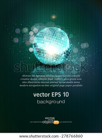 vector background with a mirror ball and reflection - stock vector