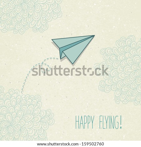Vector background with a paper airplane and original clouds. Perfect for invitations, card, announcement or greetings. - stock vector