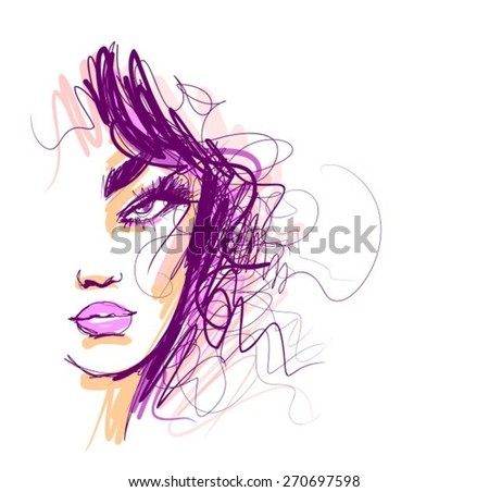 VECTOR Background with a portrait of the beautiful young girl - stock vector
