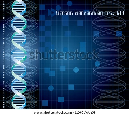 vector background with abstract DNA graph - stock vector