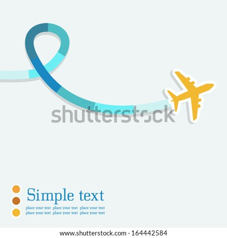 Vector background with airplane and colorful jet. There is space for text. - stock vector