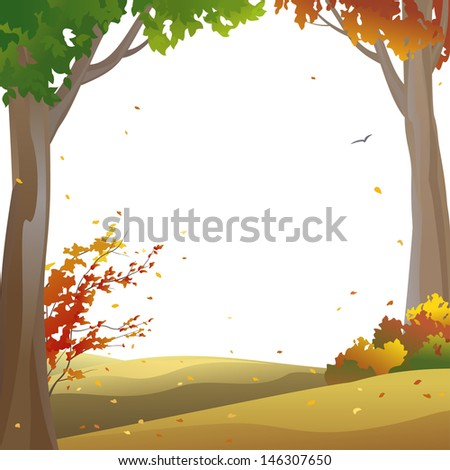Vector background with autumn trees and falling leaves