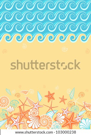 Vector background with beach and text box. Stylized coastline, sea, golden sand, seashells, starfish. Vintage colorful abstract illustration with concept of seaside resort, vacation, diving - stock vector