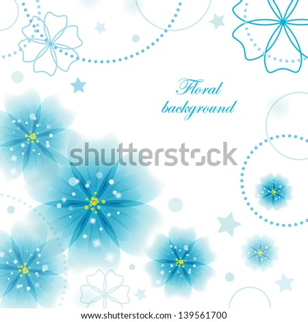 vector background with beautiful blue flowers
