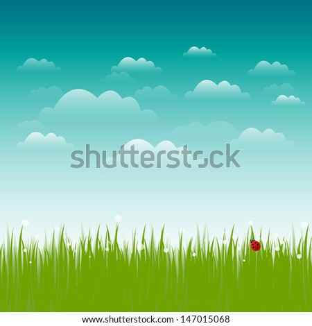 Vector background with beautiful green grass, sky and ladybug