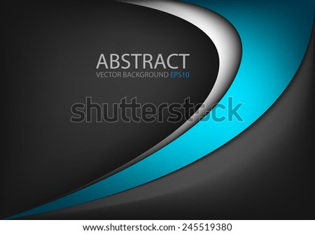 Vector background with blue and silver curve line on black space for text and message modern artwork design  - stock vector