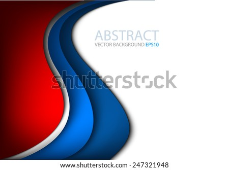 Vector background with blue and silver curve line on white and red space for text and message modern artwork design - stock vector