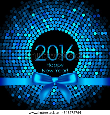 Vector 2016 background with blue disco lights and ribbon - stock vector