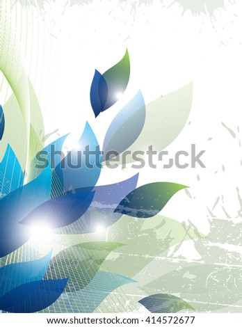 Vector Background with Blue Leaves.