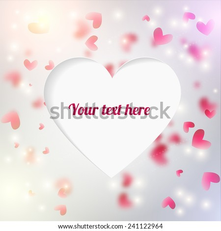 Vector background with blurred hearts and lights.  - stock vector