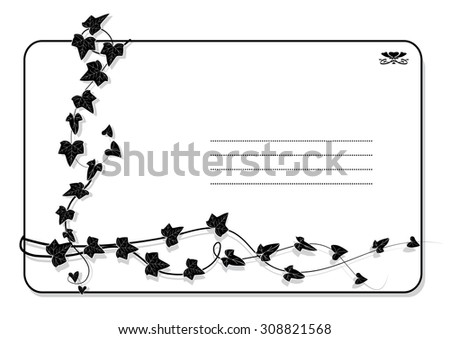 vector background with branch of ivy in black and white colors - stock vector
