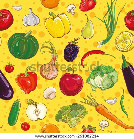 Vector background with bright colorful vegetables and fruits. Seamless pattern. eps 10 - stock vector