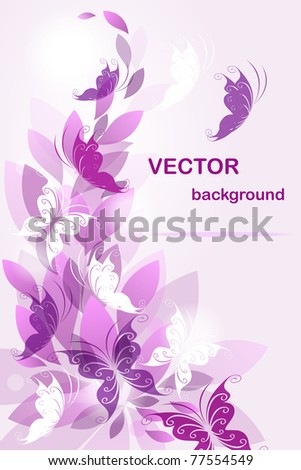 Vector background with butterflies - stock vector