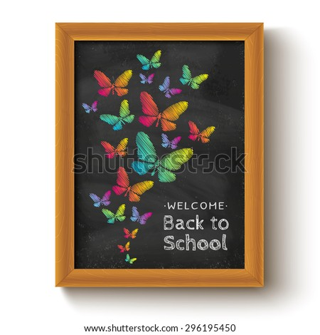 Vector background with butterflys on chalkboard for school day - stock vector