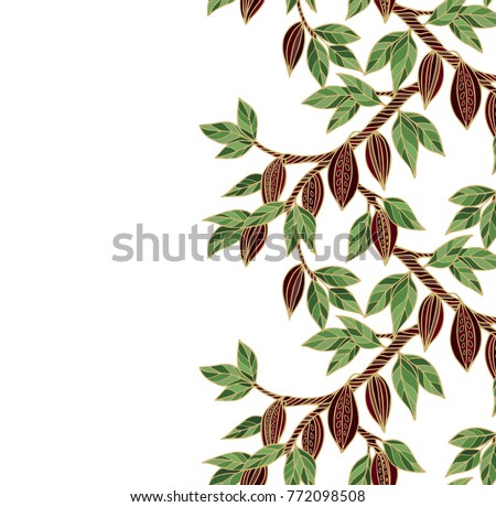 Vector background with cacao tree branches