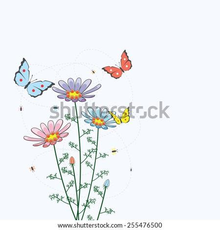 vector background with camomile flowers and butterflies - stock vector