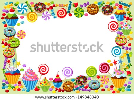 Vector background with candy, sweet and pastry and with place for your text. - stock vector