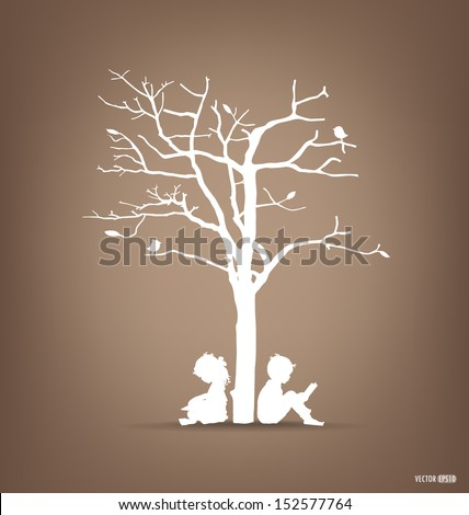 Vector background with children read a book under tree. Vector Illustration. - stock vector