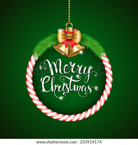 """Vector background with Christmas decor and handwritten text """"Merry Christmas"""". Vector illustration for Christmas posters, icons, Christmas greeting cards, Christmas print and web projects - stock vector"""