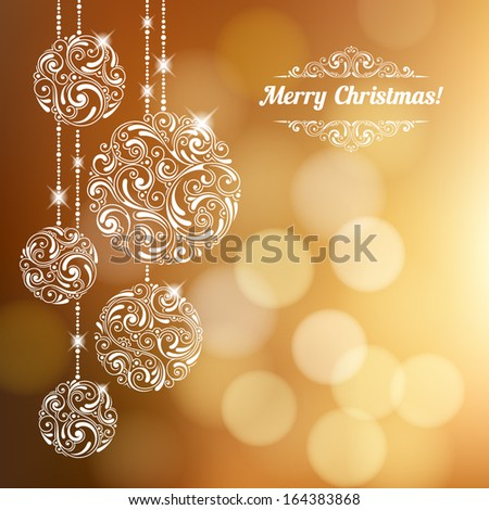 Vector background with Christmas decoration for your design. Vintage ornamental balls and bow on defocus background. Happy New Year greeting card - stock vector