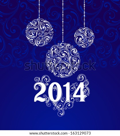 Vector background with christmas decoration for your design. Vintage ornamental balls. Happy New Year greeting card