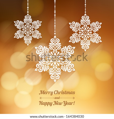 Vector background with Christmas decoration for your design. Vintage ornamental snowflakes on defocus background. Happy New Year greeting card - stock vector