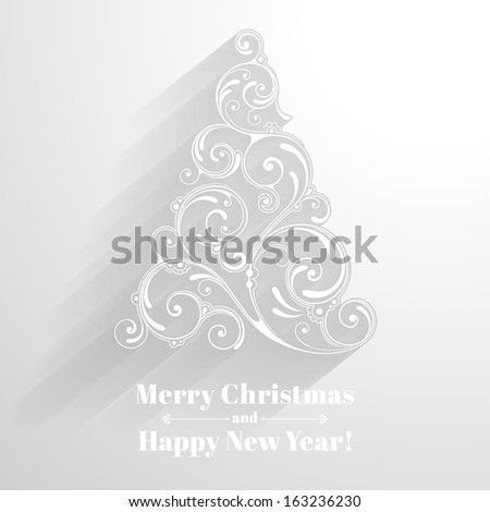 Vector background with christmas decoration for your design. Vintage ornamental tree in paper style. Happy New Year greeting card - stock vector