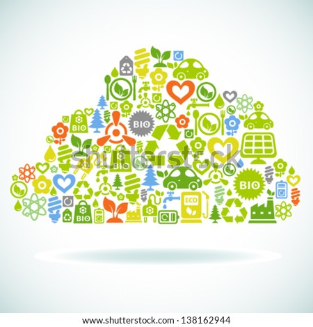 Vector background with cloud shape contained from ecology icons - stock vector
