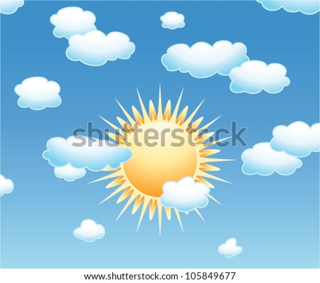 vector background with clouds and sun in the sky