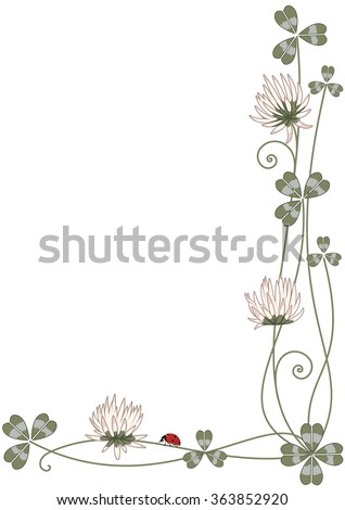 Vector background with clover and ladybird for corner design - stock vector