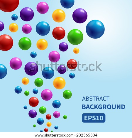 Vector background with colorful glossy bubbles flowing up. Vector illustration for your design. - stock vector