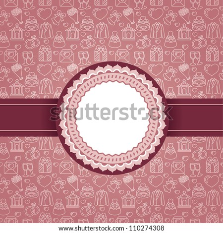 Vector background with copy space for text and wedding icons - stock vector
