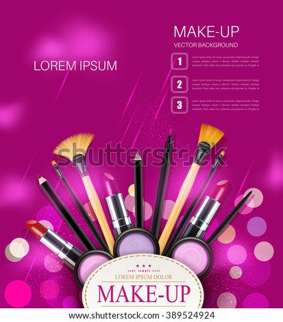 vector background with cosmetics and make-up objects and place for text. (pink flyer template) - stock vector