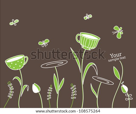 Vector background with cups and flowers - stock vector